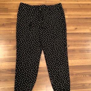 Crepe white polka dots black pants size 16